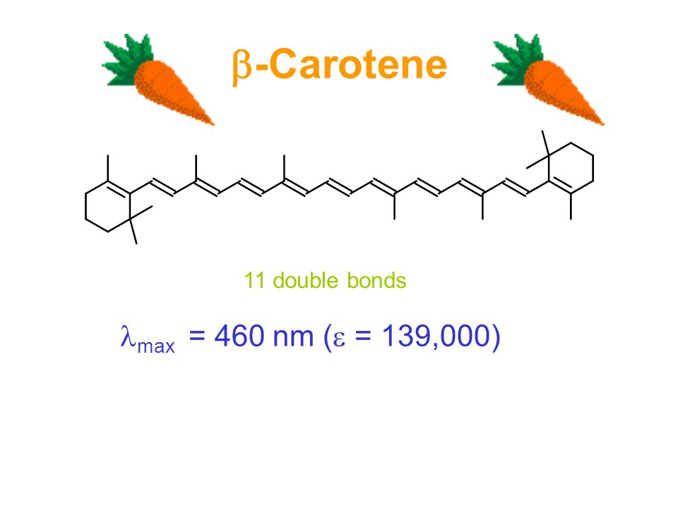  -Carotene 11 double bonds max = 460 nm (  = 139,000)