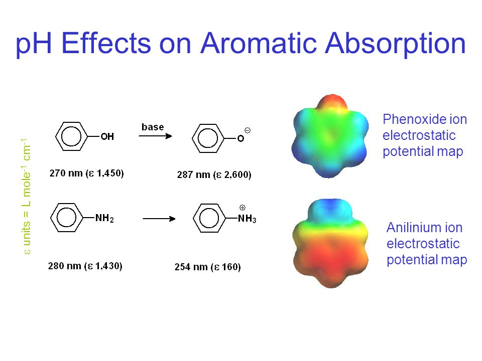 pH Effects on Aromatic Absorption Phenoxide ion electrostatic potential map Anilinium ion electrostatic potential map  units = L mole -1 cm -1