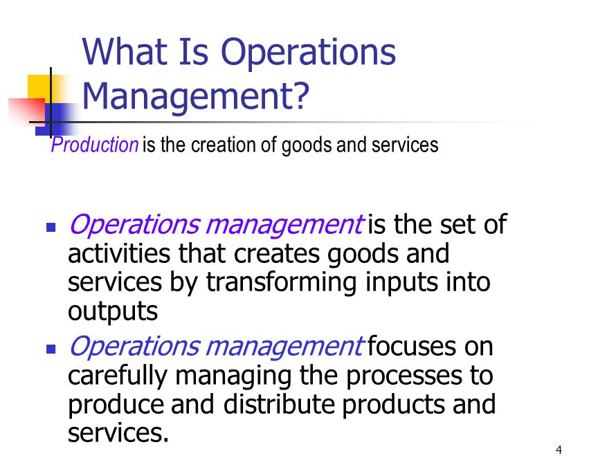 production and operations management of goods