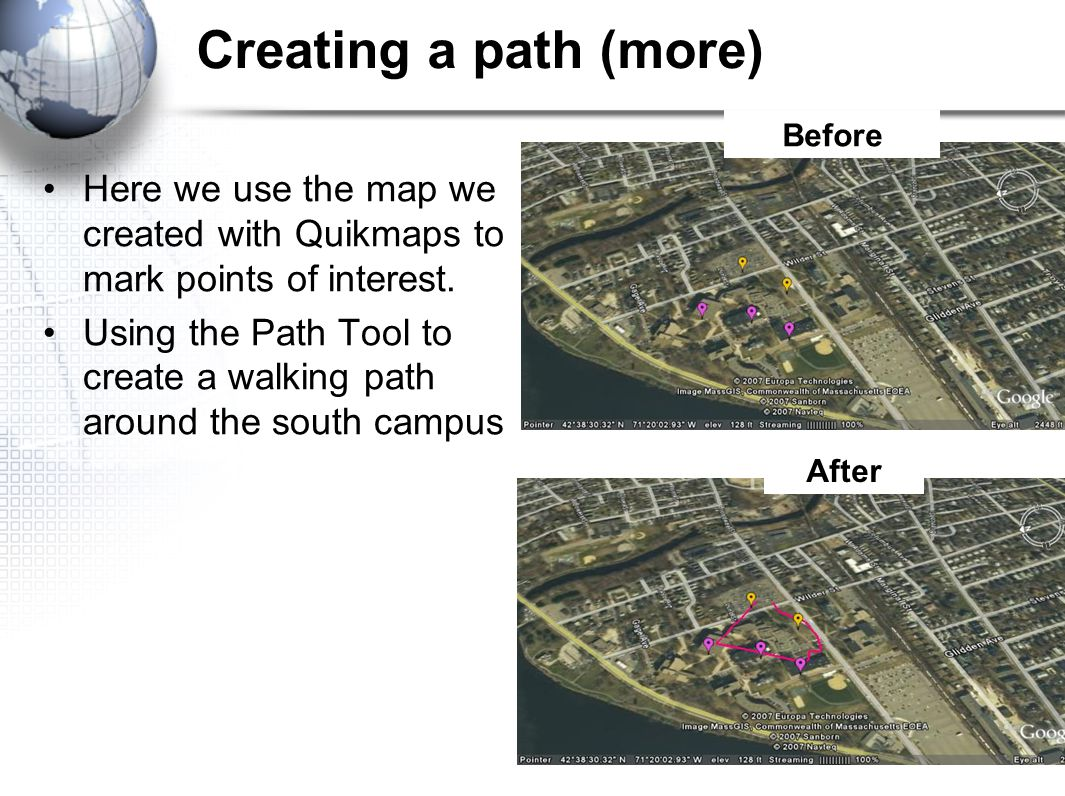 Creating a path (more) Here we use the map we created with Quikmaps to mark points of interest.