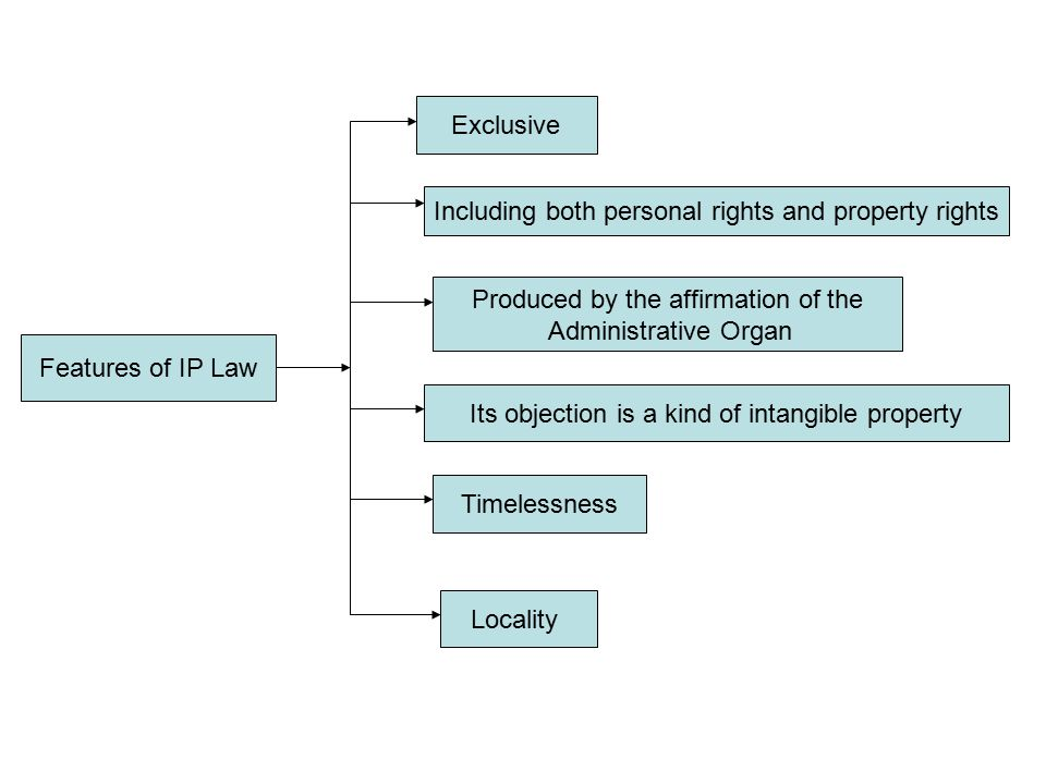 Features of IP Law Exclusive Including both personal rights and property rights Produced by the affirmation of the Administrative Organ Its objection is a kind of intangible property Timelessness Locality