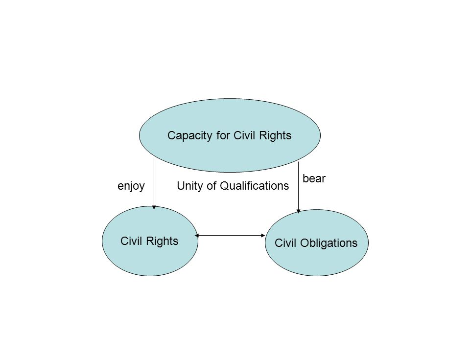 Civil Rights Civil Obligations bear enjoy Capacity for Civil Rights Unity of Qualifications