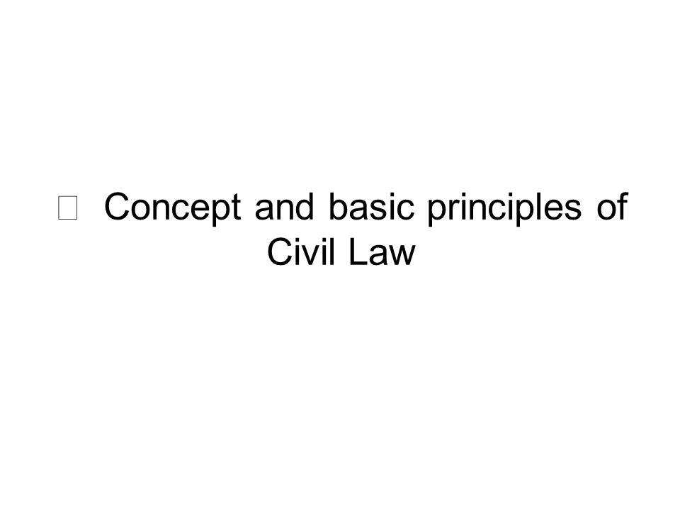 Ⅰ Concept and basic principles of Civil Law