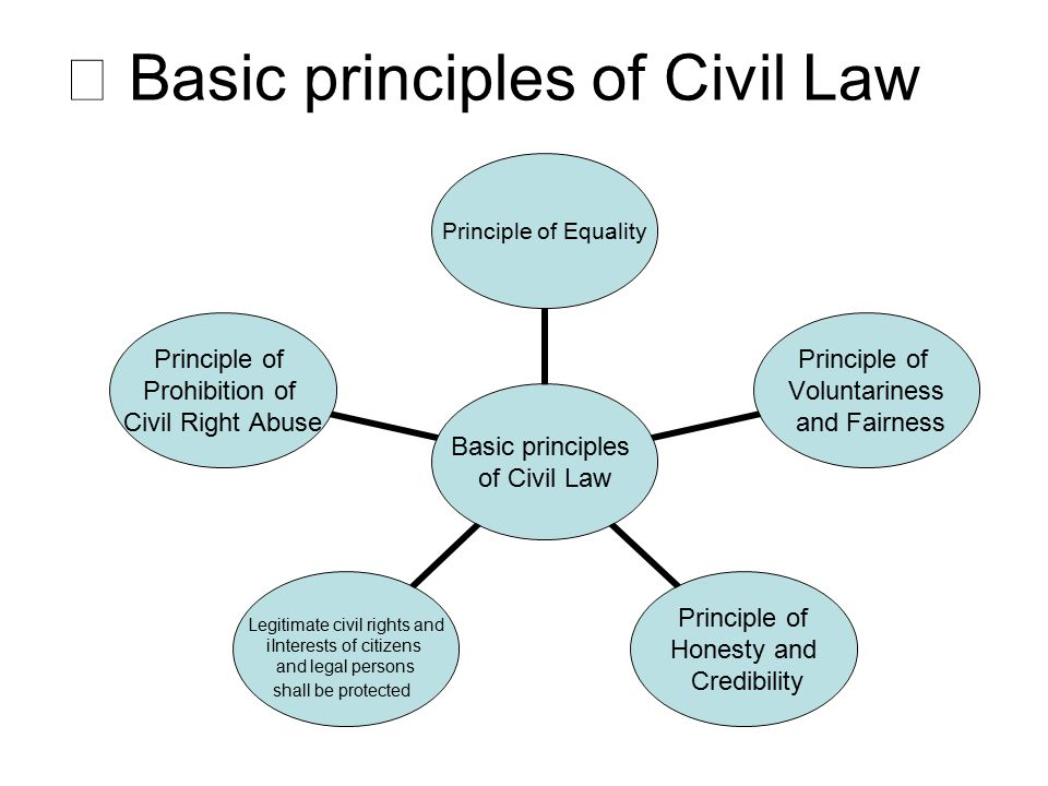 Basic principles of Civil Law Principle of Equality Principle of Voluntariness and Fairness Principle of Honesty and Credibility Legitimate civil rights and iInterests of citizens and legal persons shall be protected Principle of Prohibition of Civil Right Abuse ⅱ Basic principles of Civil Law