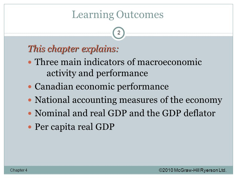 Learning Outcomes ©2010 McGraw-Hill Ryerson Ltd.