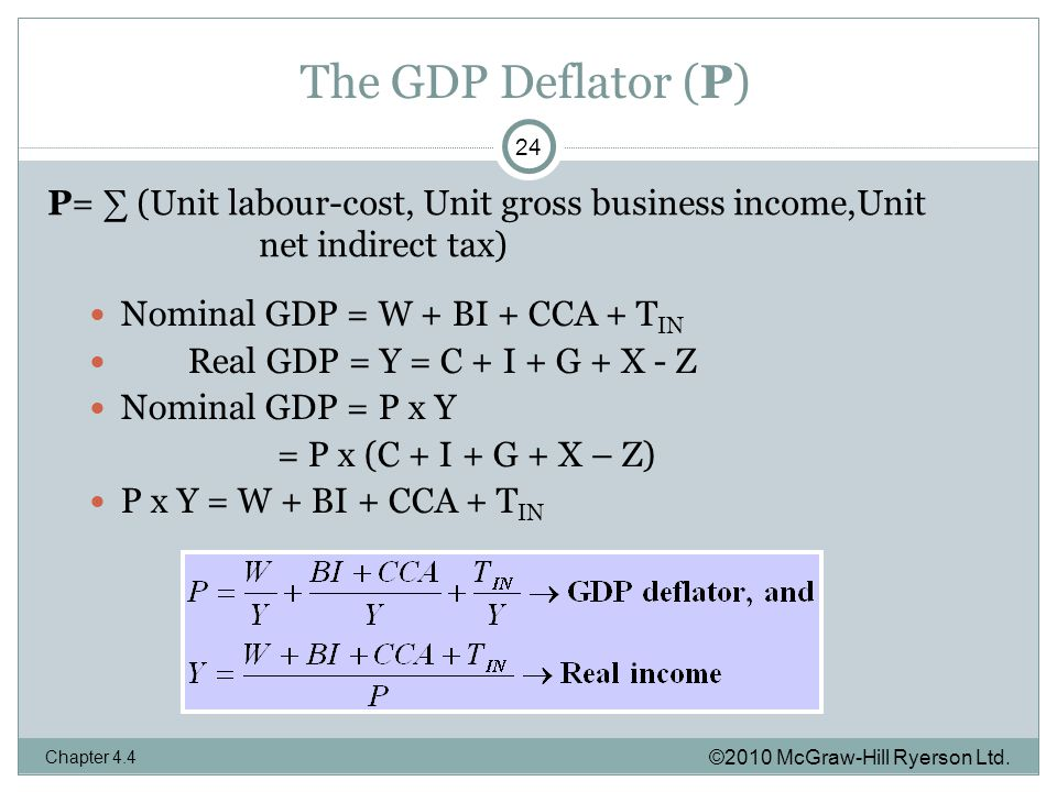 The GDP Deflator (P) Nominal GDP = W + BI + CCA + T IN Real GDP = Y = C + I + G + X - Z Nominal GDP = P x Y = P x (C + I + G + X – Z) P x Y = W + BI + CCA + T IN ©2010 McGraw-Hill Ryerson Ltd.