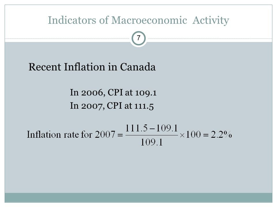 Recent Inflation in Canada In 2006, CPI at In 2007, CPI at Indicators of Macroeconomic Activity 7