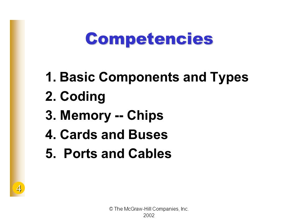 4 © The McGraw-Hill Companies, Inc Competencies 1.