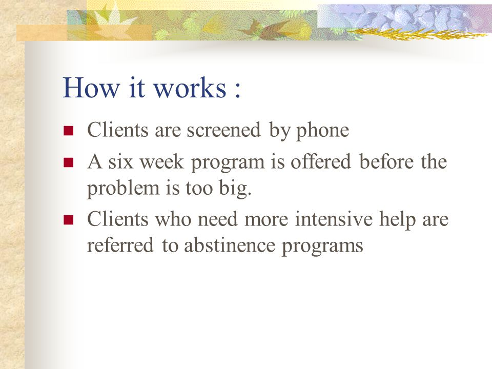 How it works : Clients are screened by phone A six week program is offered before the problem is too big.