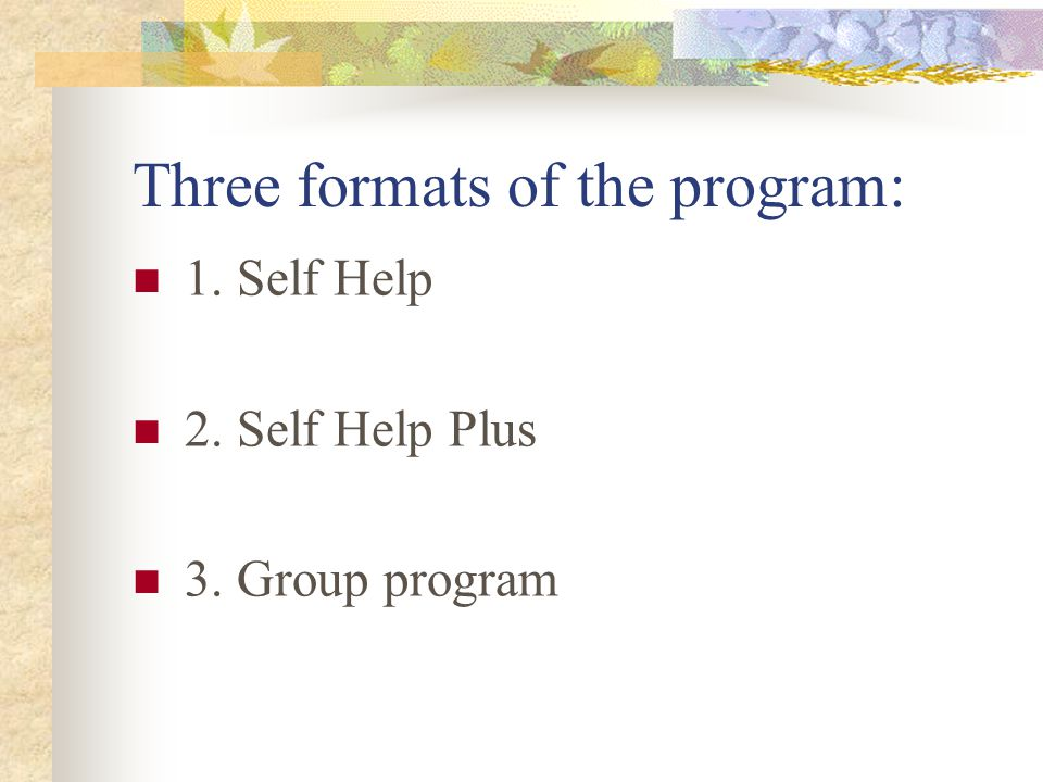 Three formats of the program: 1. Self Help 2. Self Help Plus 3. Group program