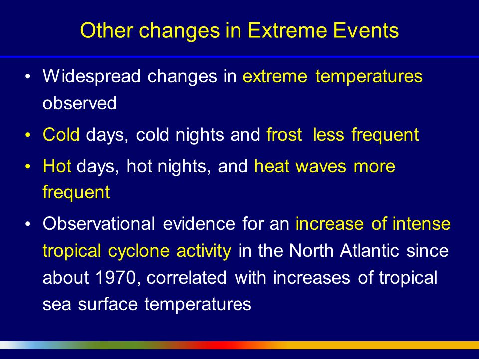 Widespread changes in extreme temperatures observed Cold days, cold nights and frost less frequent Hot days, hot nights, and heat waves more frequent Observational evidence for an increase of intense tropical cyclone activity in the North Atlantic since about 1970, correlated with increases of tropical sea surface temperatures Other changes in Extreme Events