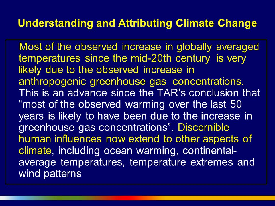 Understanding and Attributing Climate Change Most of the observed increase in globally averaged temperatures since the mid-20th century is very likely due to the observed increase in anthropogenic greenhouse gas concentrations.