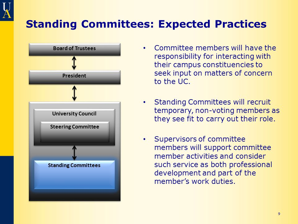 Standing Committees: Expected Practices Committee members will have the responsibility for interacting with their campus constituencies to seek input on matters of concern to the UC.