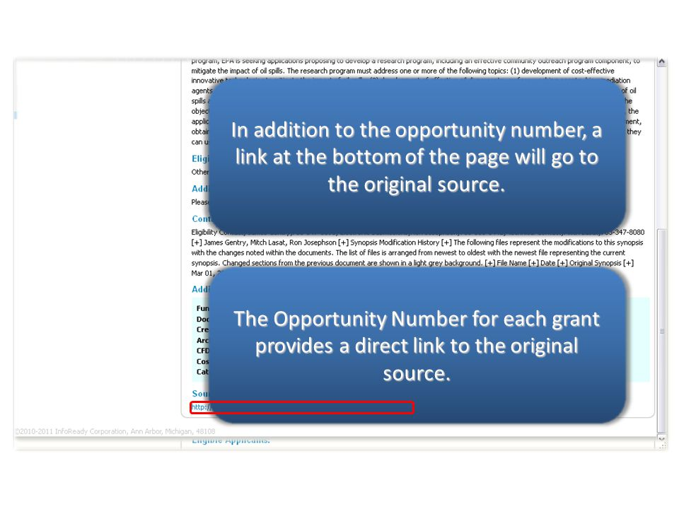 The Opportunity Number for each grant provides a direct link to the original source.