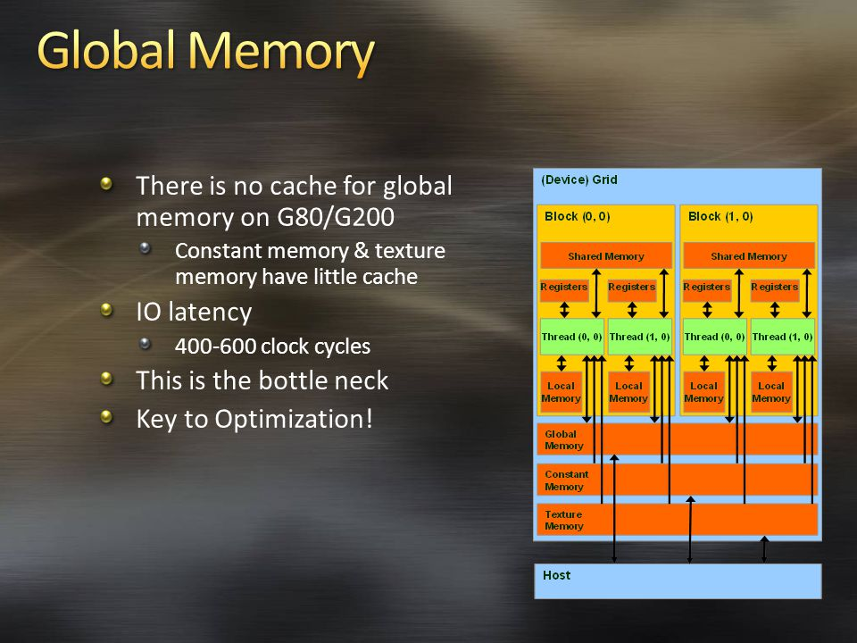 There is no cache for global memory on G80/G200 Constant memory & texture memory have little cache IO latency clock cycles This is the bottle neck Key to Optimization!