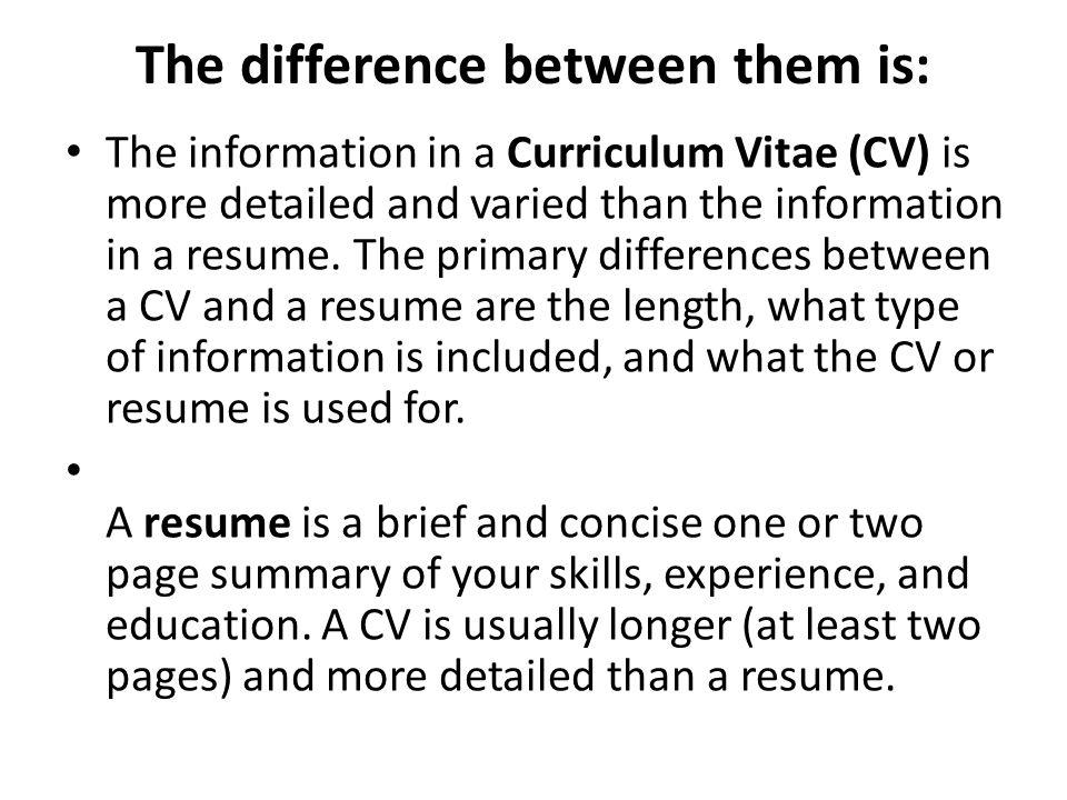 Cv Resume Difference Between Online Resume Generator Free Cv Builder