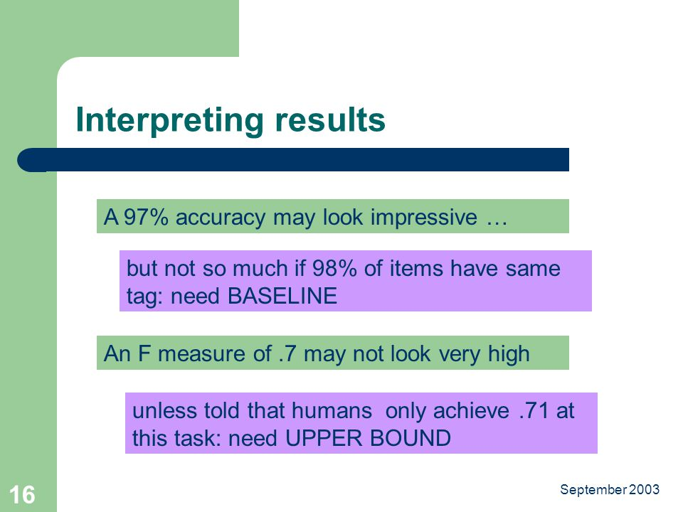 September Interpreting results A 97% accuracy may look impressive … but not so much if 98% of items have same tag: need BASELINE An F measure of.7 may not look very high unless told that humans only achieve.71 at this task: need UPPER BOUND