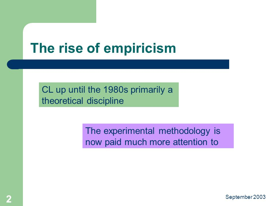September The rise of empiricism CL up until the 1980s primarily a theoretical discipline The experimental methodology is now paid much more attention to