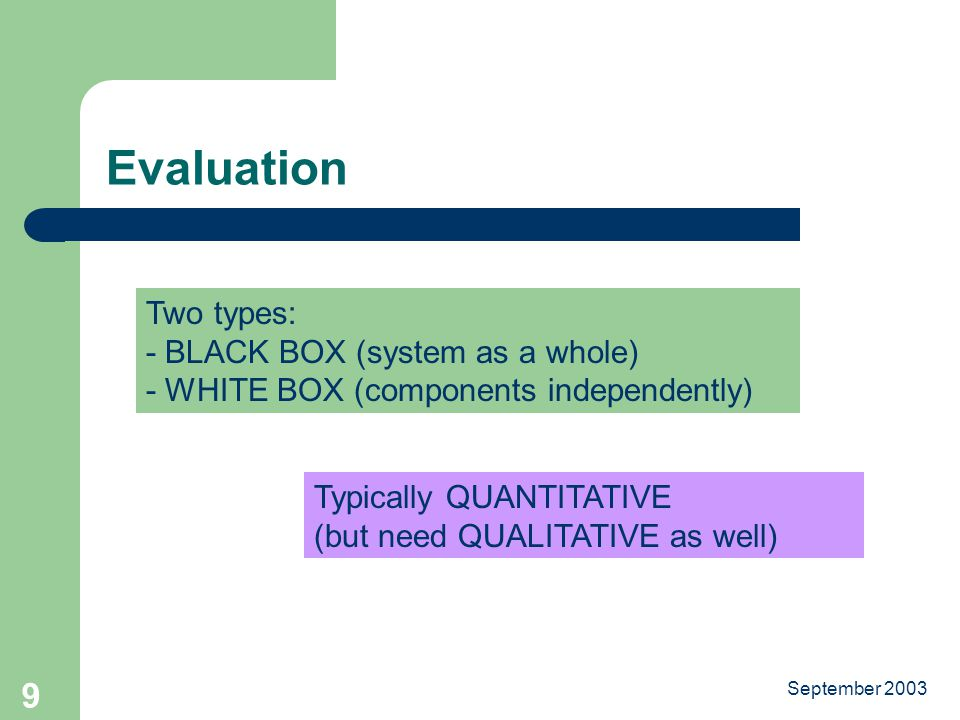 September Evaluation Two types: - BLACK BOX (system as a whole) - WHITE BOX (components independently) Typically QUANTITATIVE (but need QUALITATIVE as well)