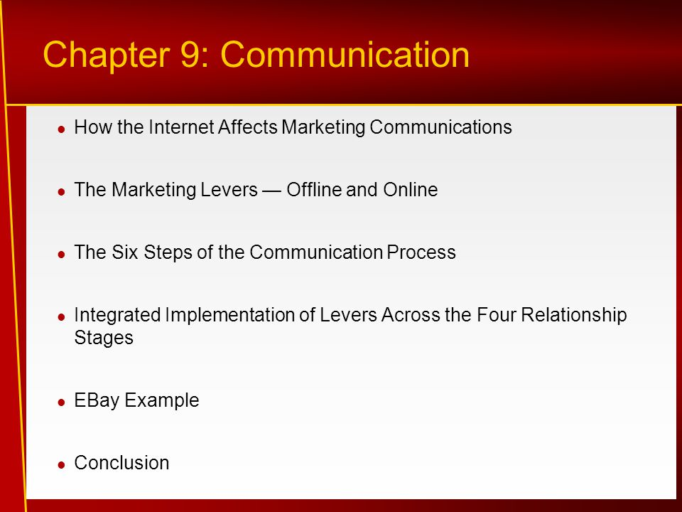 How the Internet Affects Marketing Communications The Marketing Levers — Offline and Online The Six Steps of the Communication Process Integrated Implementation of Levers Across the Four Relationship Stages EBay Example Conclusion Chapter 9: Communication