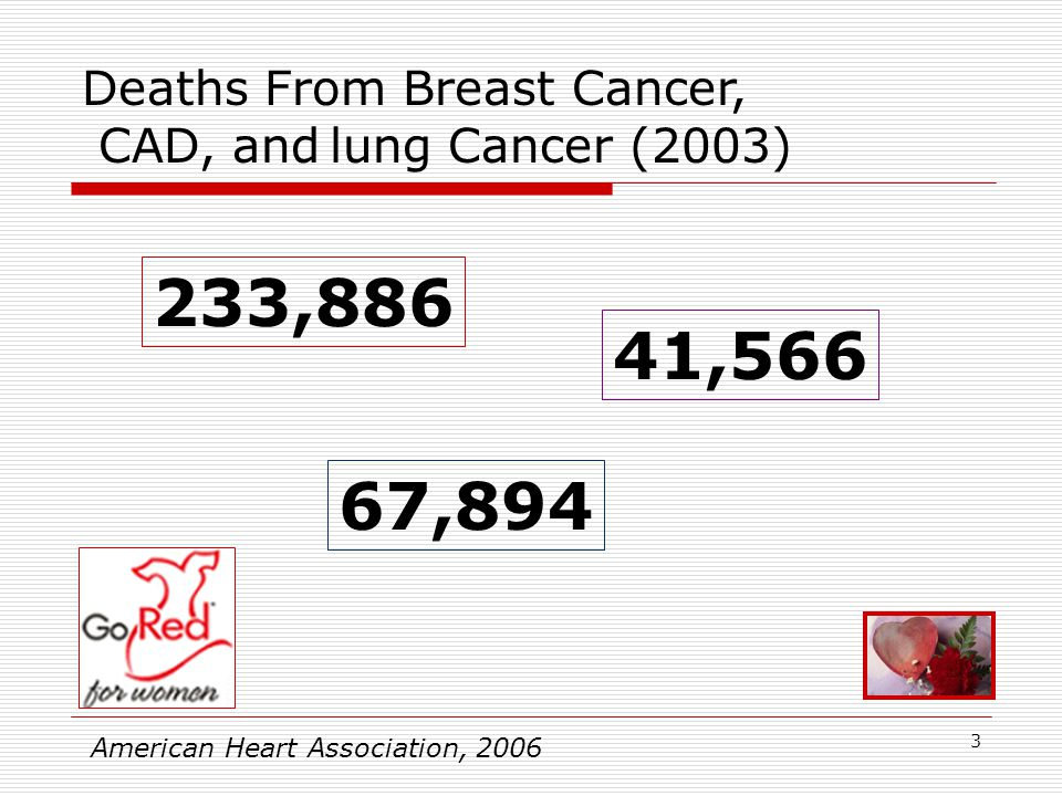 3 233,886 41,566 67,894 American Heart Association, 2006 Deaths From Breast Cancer, CAD, and lung Cancer (2003)