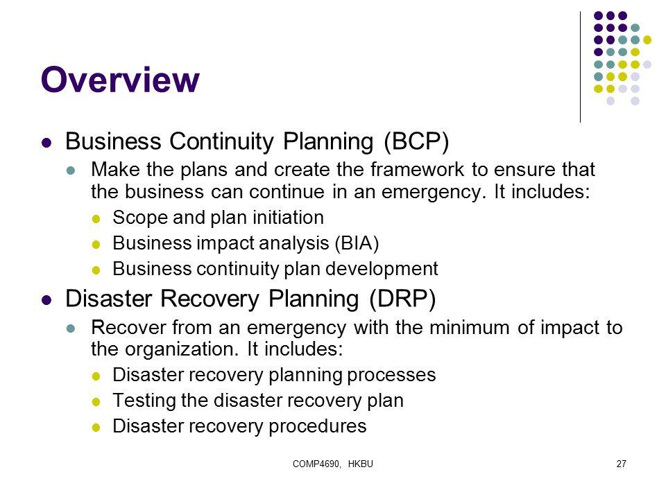 Business continuity plan framework