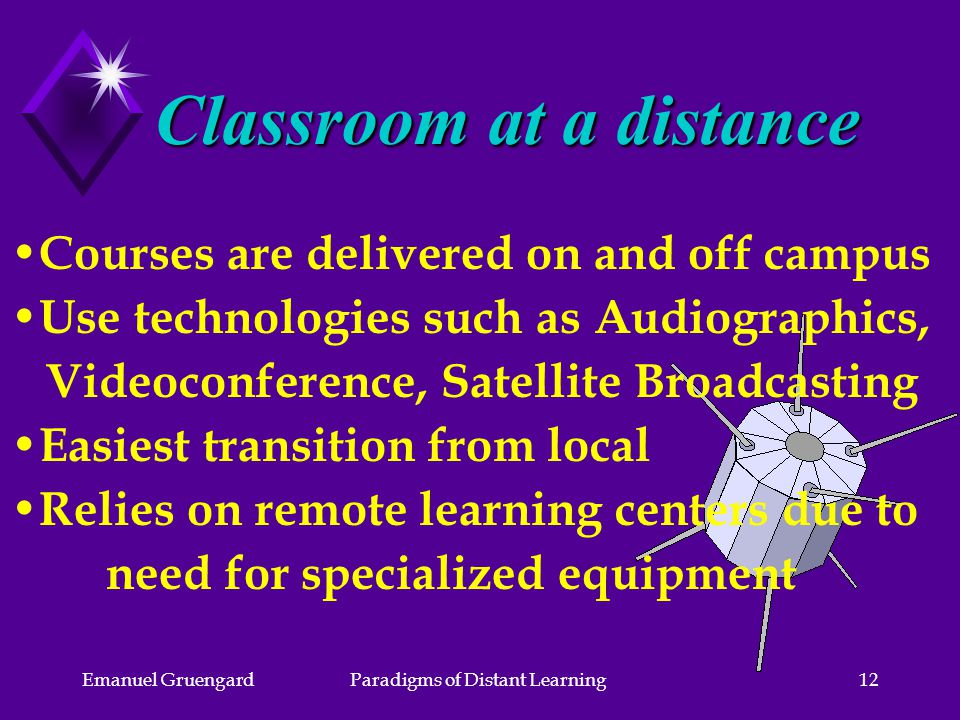 Emanuel GruengardParadigms of Distant Learning12 Courses are delivered on and off campus Use technologies such as Audiographics, Videoconference, Satellite Broadcasting Easiest transition from local Relies on remote learning centers due to need for specialized equipment Classroom at a distance