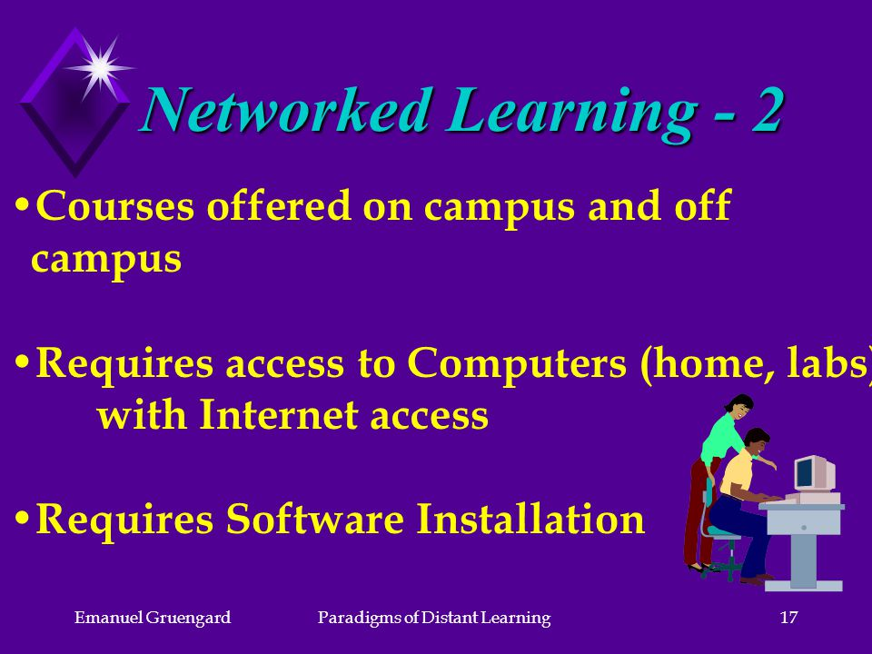 Emanuel GruengardParadigms of Distant Learning17 Courses offered on campus and off campus Requires access to Computers (home, labs) with Internet access Requires Software Installation Networked Learning - 2