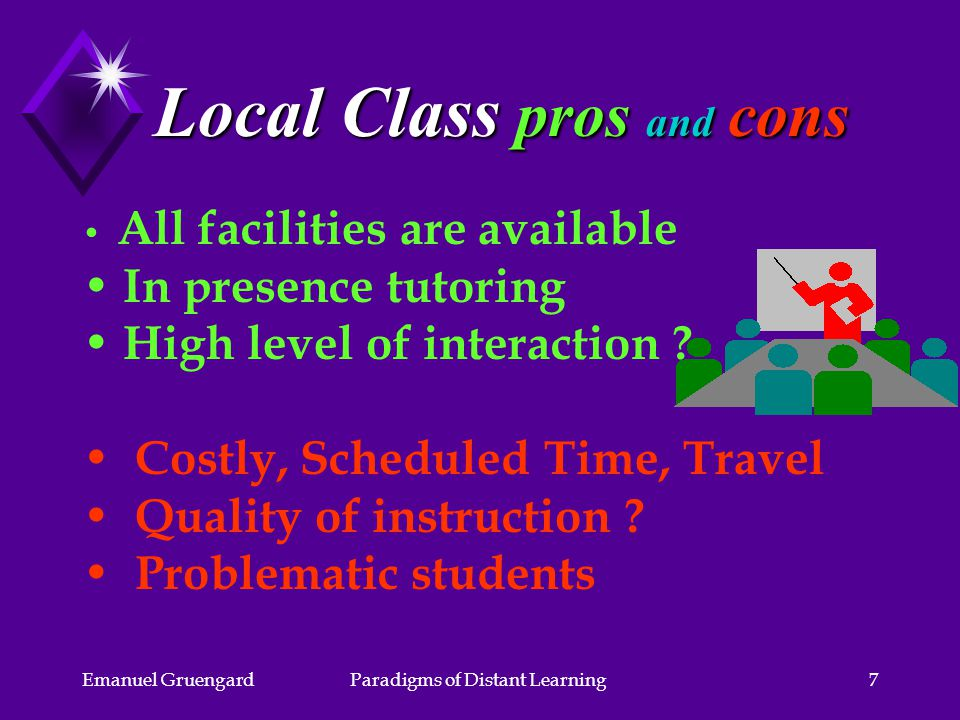 Emanuel GruengardParadigms of Distant Learning7 Local Class pros and cons All facilities are available In presence tutoring High level of interaction .