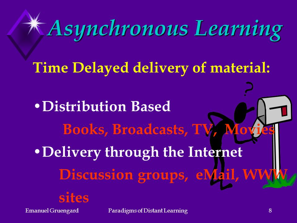 Emanuel GruengardParadigms of Distant Learning8 Asynchronous Learning Time Delayed delivery of material: Distribution Based Books, Broadcasts, TV, Movies Delivery through the Internet Discussion groups,  , WWW sites