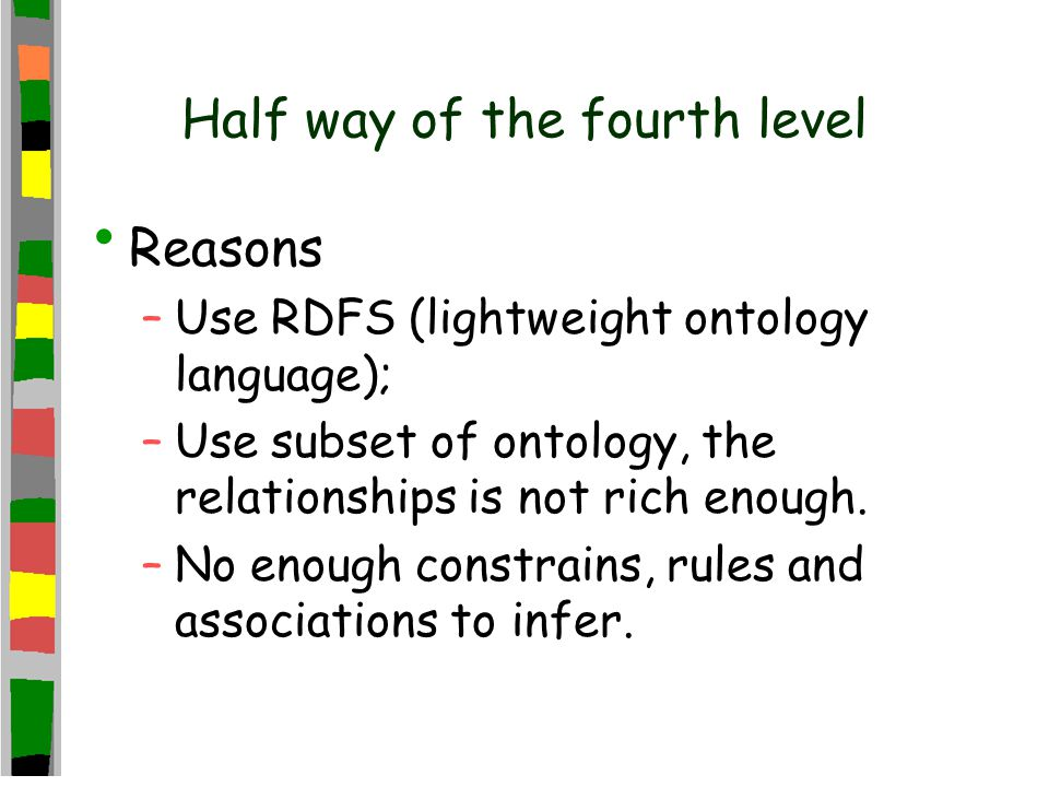 Half way of the fourth level Reasons –Use RDFS (lightweight ontology language); –Use subset of ontology, the relationships is not rich enough.