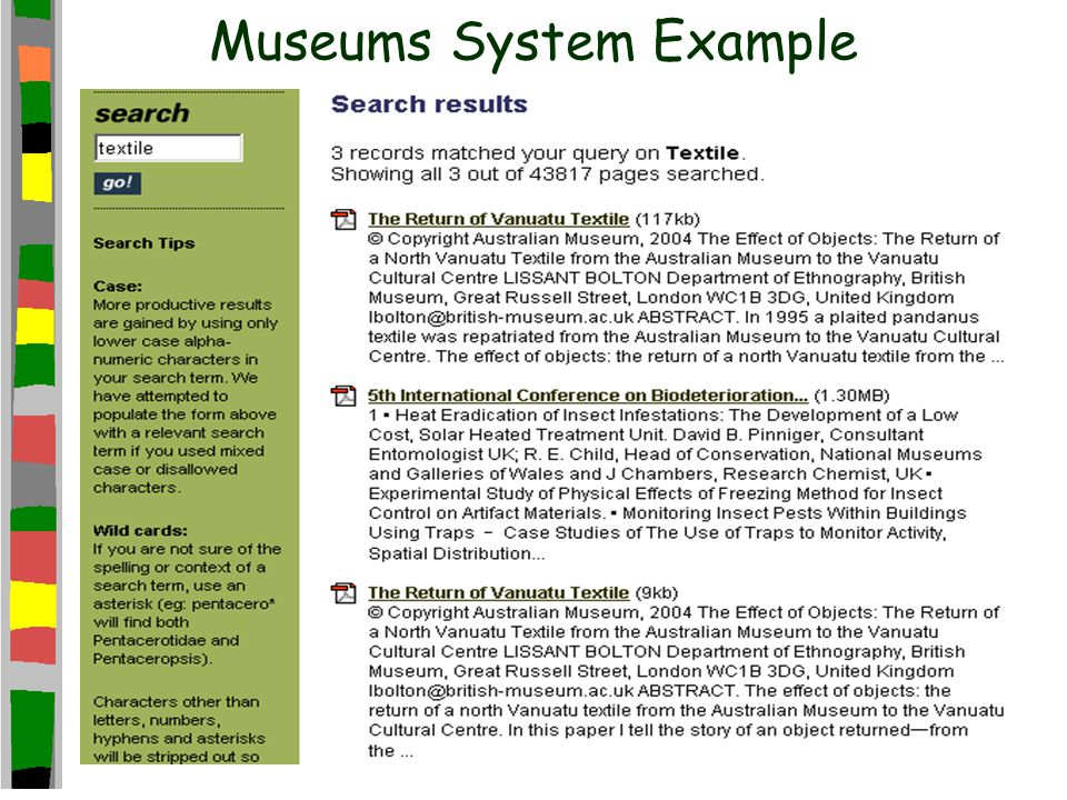 Museums System Example