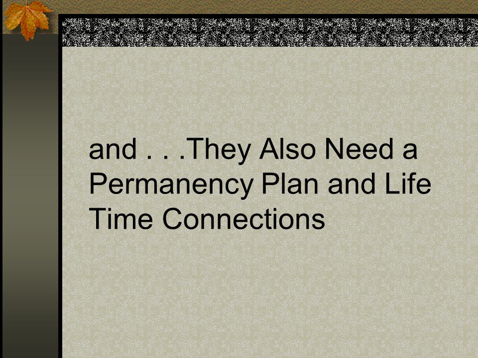 and...They Also Need a Permanency Plan and Life Time Connections