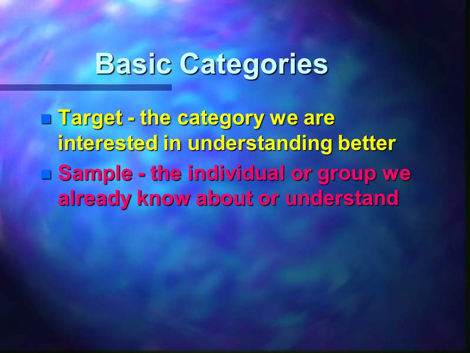 Basic Categories n Target - the category we are interested in understanding better n Sample - the individual or group we already know about or understand