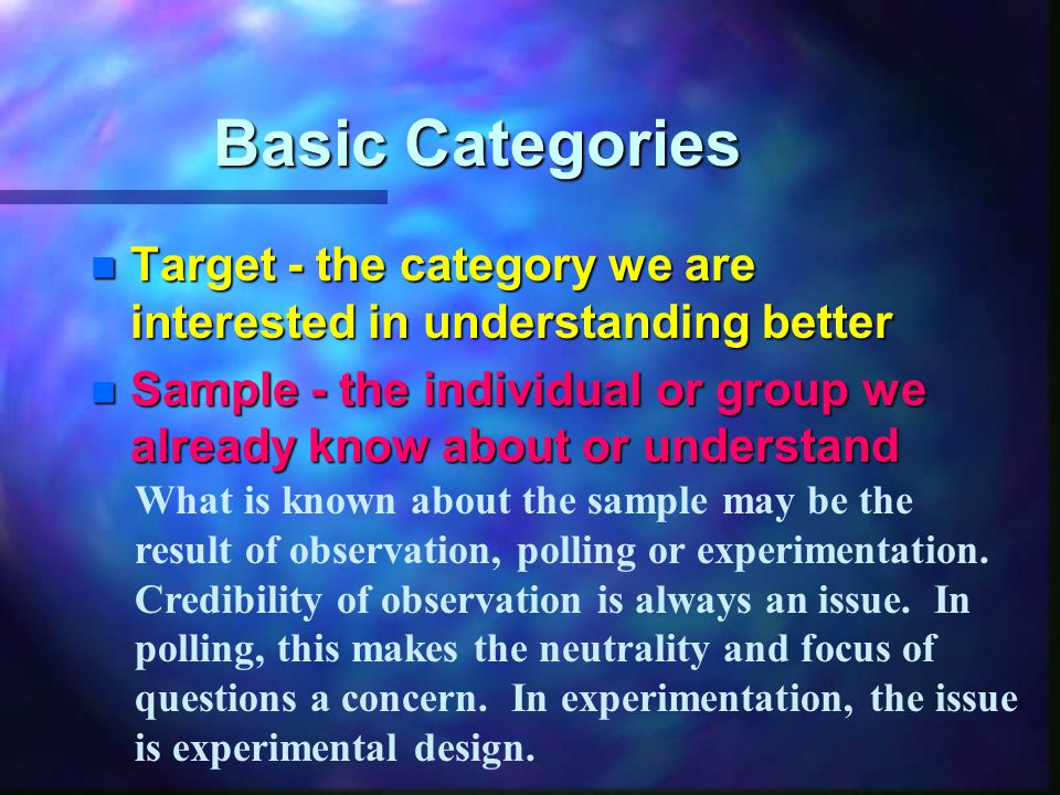 Basic Categories n Target - the category we are interested in understanding better n Sample - the individual or group we already know about or understand What is known about the sample may be the result of observation, polling or experimentation.