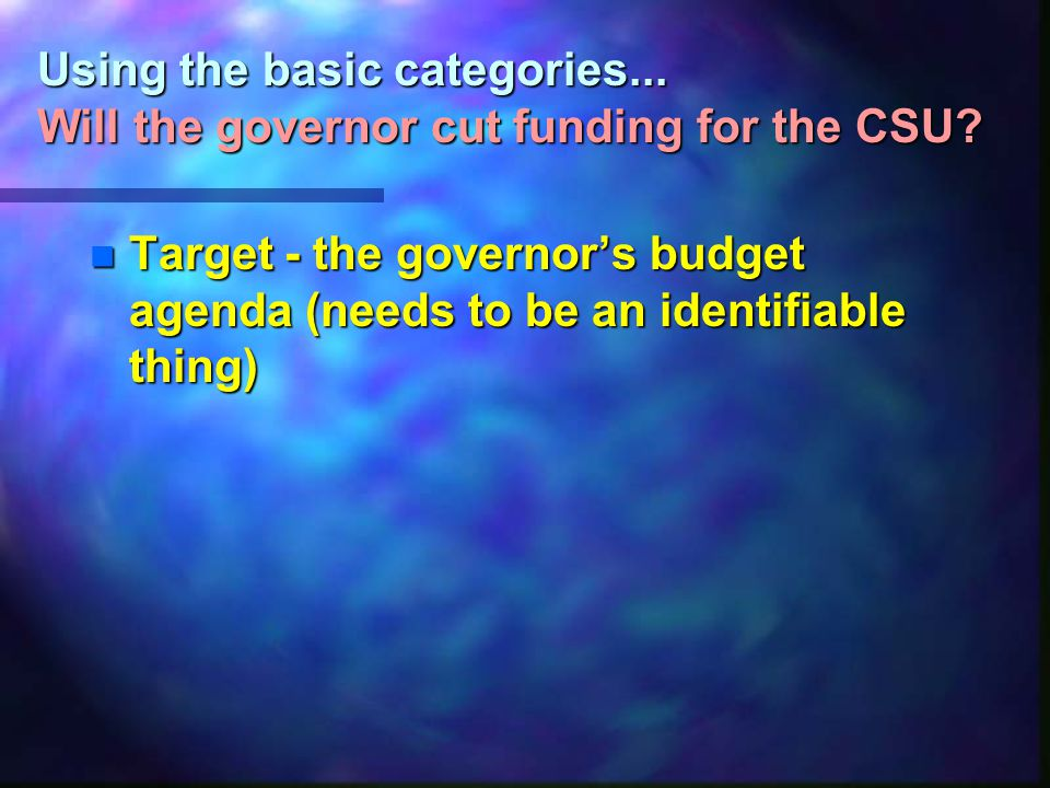 Using the basic categories... Will the governor cut funding for the CSU.