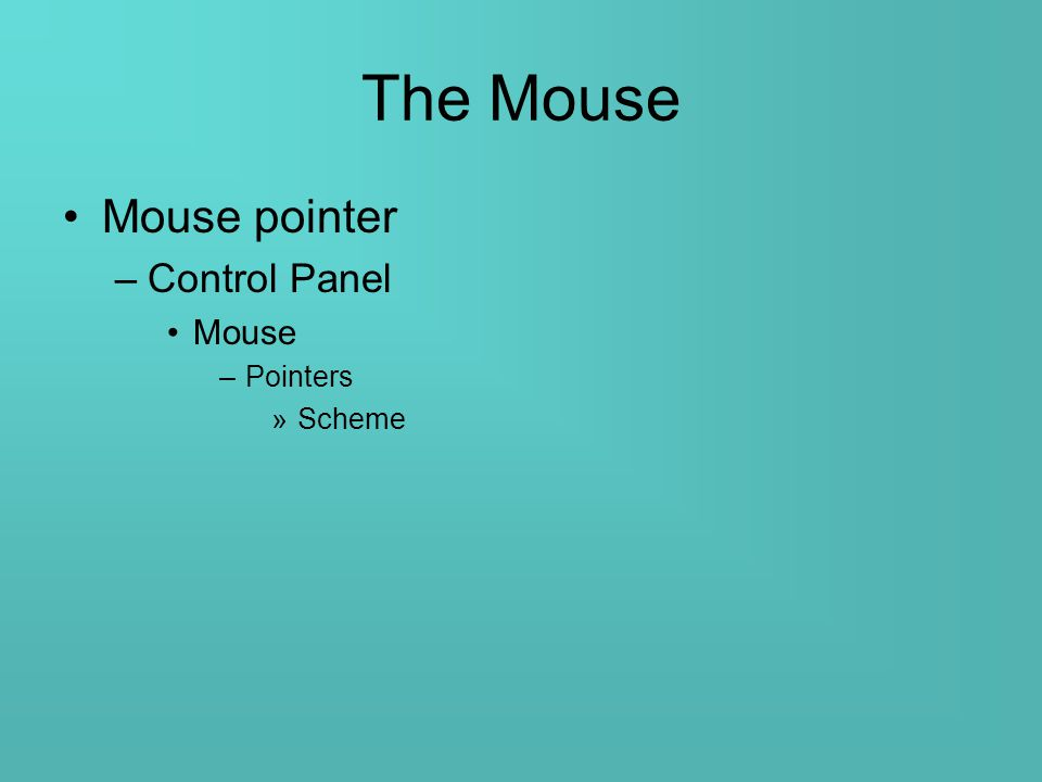 The Mouse Mouse pointer –Control Panel Mouse –Pointers »Scheme