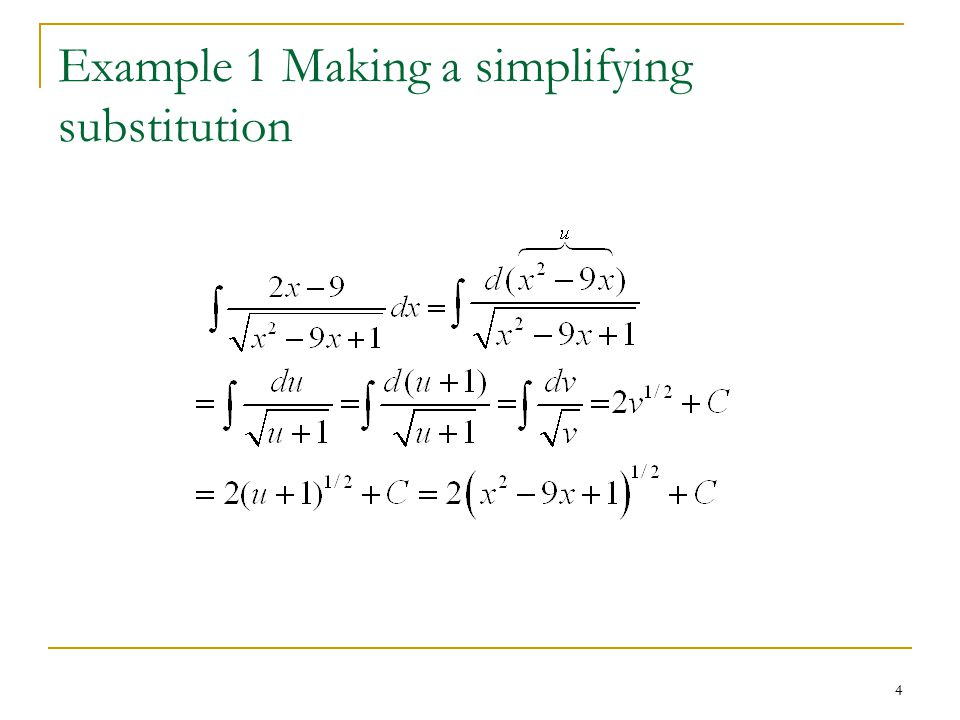 4 Example 1 Making a simplifying substitution