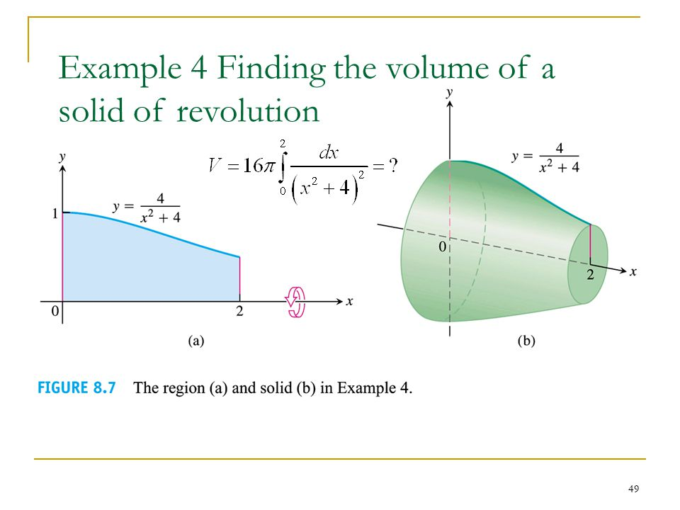 49 Example 4 Finding the volume of a solid of revolution