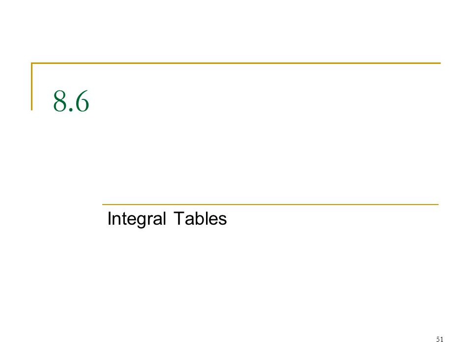 Integral Tables