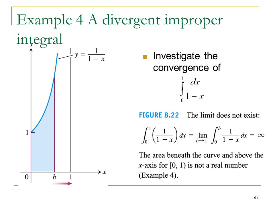 68 Example 4 A divergent improper integral Investigate the convergence of