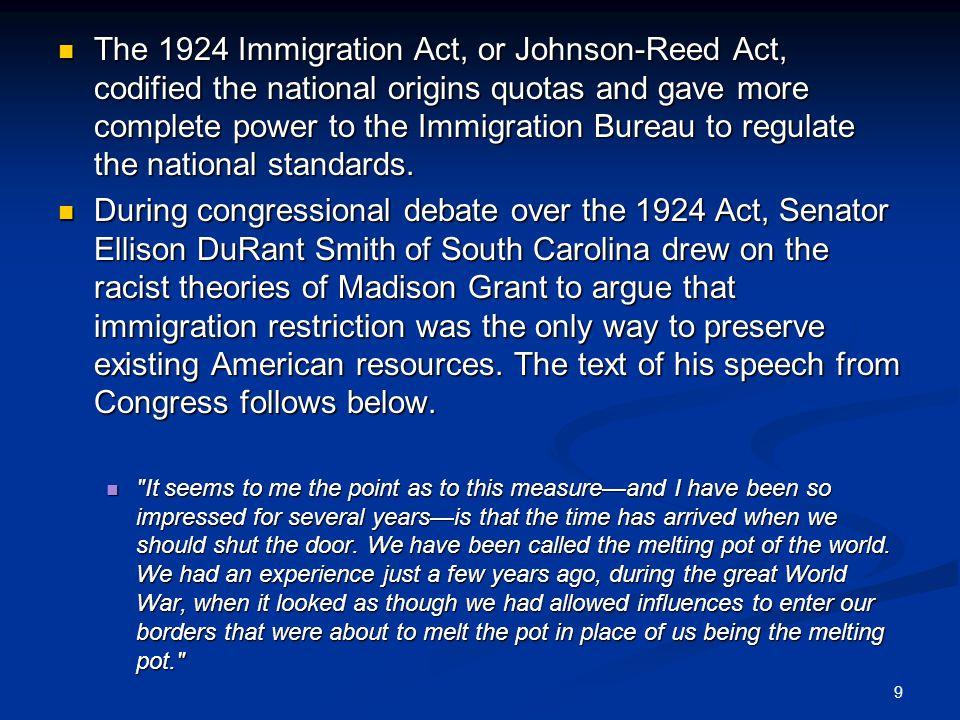 immigration act 1924 factors influenced congress pass