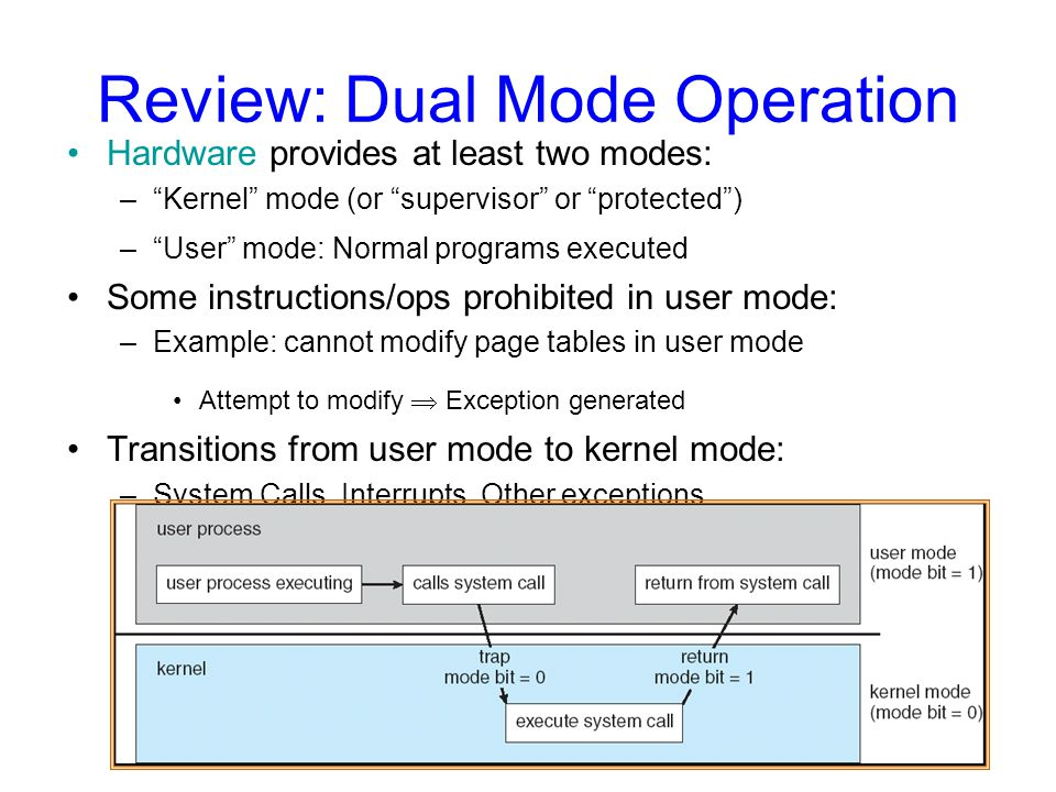 Review: Dual Mode Operation Hardware provides at least two modes: – Kernel mode (or supervisor or protected ) – User mode: Normal programs executed Some instructions/ops prohibited in user mode: –Example: cannot modify page tables in user mode Attempt to modify  Exception generated Transitions from user mode to kernel mode: –System Calls, Interrupts, Other exceptions