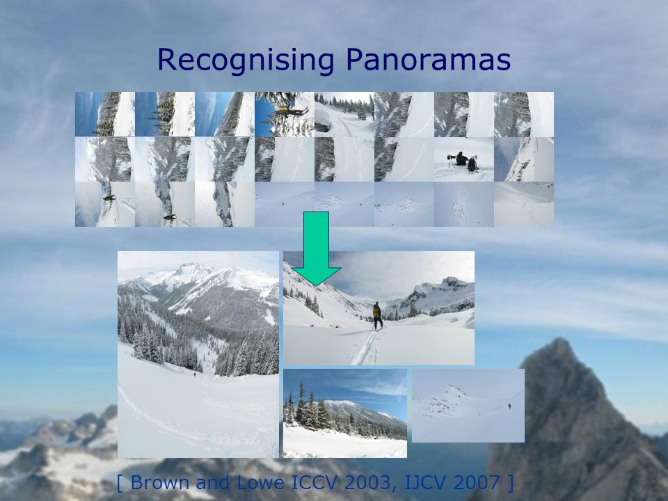 Recognising Panoramas [ Brown and Lowe ICCV 2003, IJCV 2007 ]