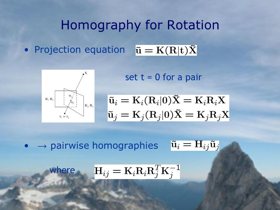 Projection equation → pairwise homographies Homography for Rotation set t = 0 for a pair where