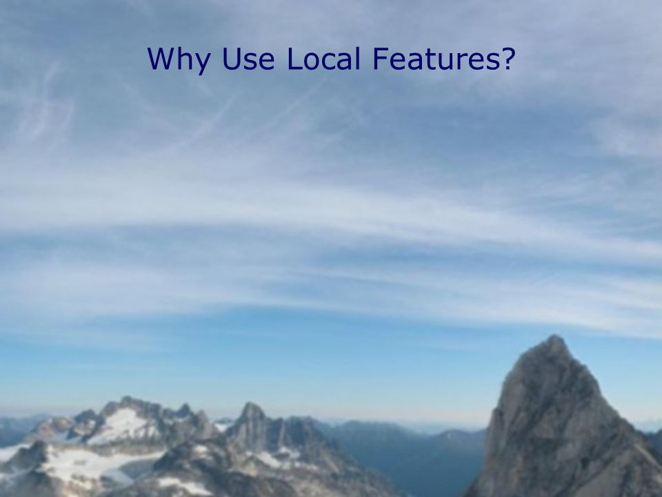 Why Use Local Features
