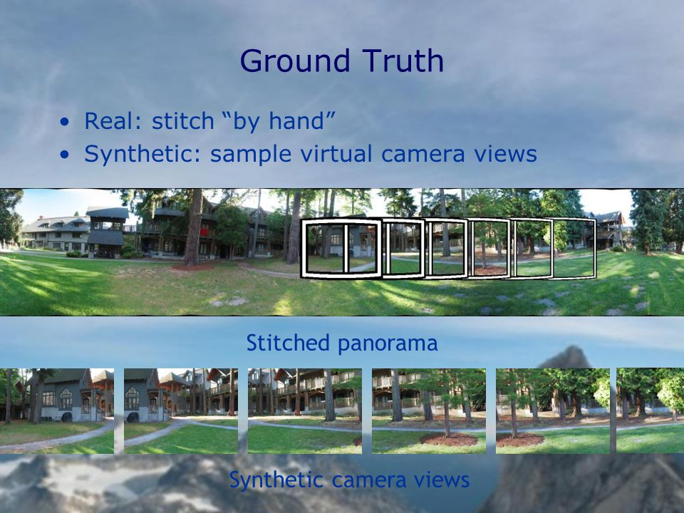 Ground Truth Real: stitch by hand Synthetic: sample virtual camera views Stitched panorama Synthetic camera views