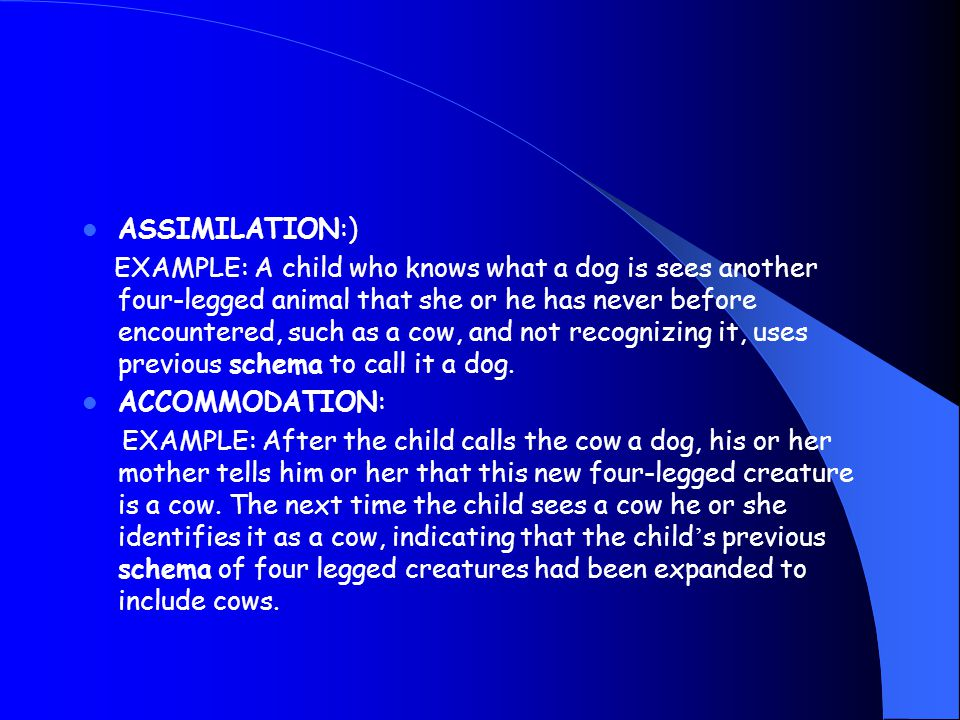 ASSIMILATION:) EXAMPLE: A child who knows what a dog is sees another four-legged animal that she or he has never before encountered, such as a cow, and not recognizing it, uses previous schema to call it a dog.
