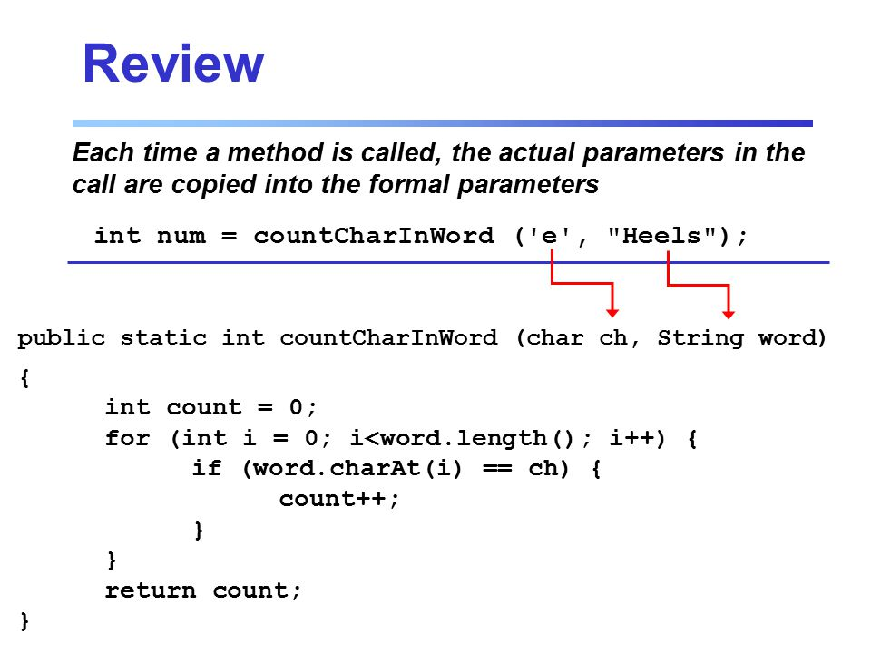 Review Each time a method is called, the actual parameters in the call are copied into the formal parameters int num = countCharInWord ( e , Heels ); { int count = 0; for (int i = 0; i<word.length(); i++) { if (word.charAt(i) == ch) { count++; } return count; } public static int countCharInWord (char ch, String word)