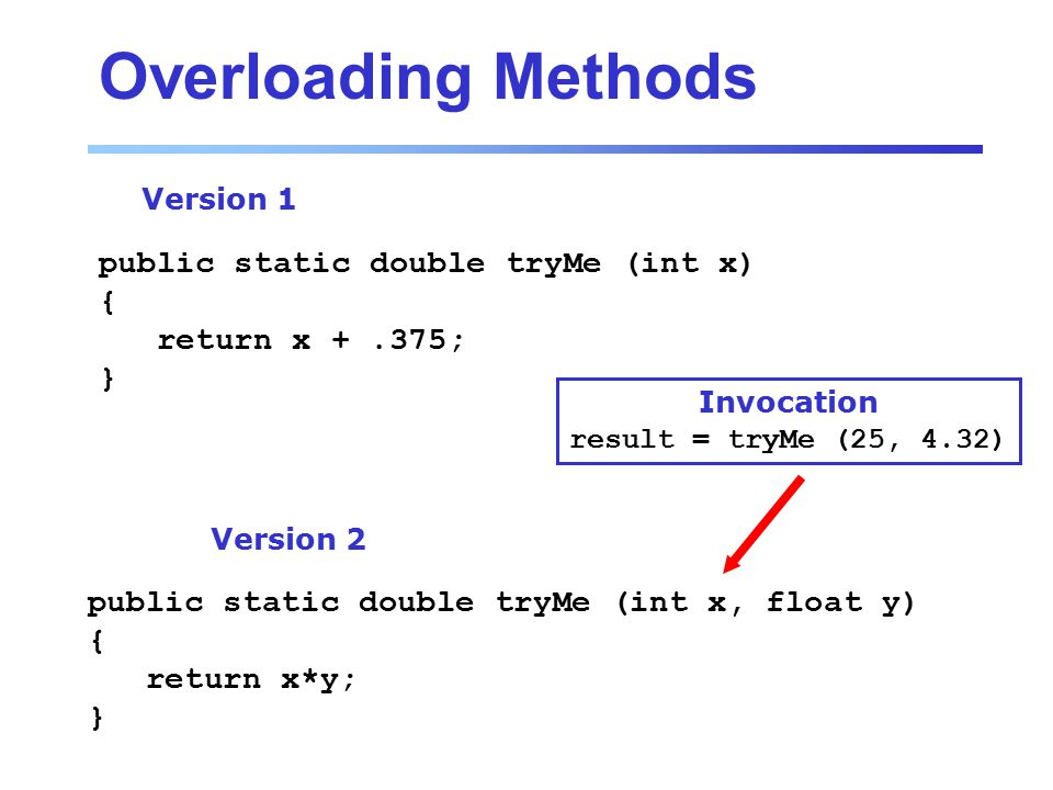 Overloading Methods public static double tryMe (int x) { return x +.375; } Version 1 public static double tryMe (int x, float y) { return x*y; } Version 2 Invocation result = tryMe (25, 4.32)